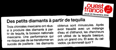 Des diamants à partir de la Tequila - Article Ouest-France - Novembre2008
